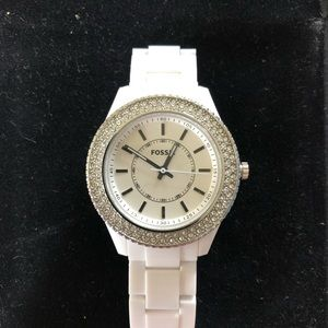 Fossil Ladies Stella Resin Watch White with Stone
